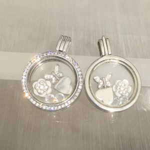 Butterfly & Flower Floating Locket Set