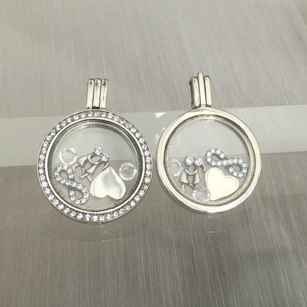 Couples Sterling Silver Floating Locket Set