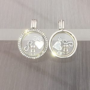 Girlfriend Sterling Silver Floating Locket Set