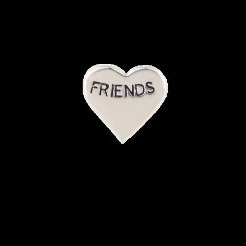 Silver Friends Heart Charm