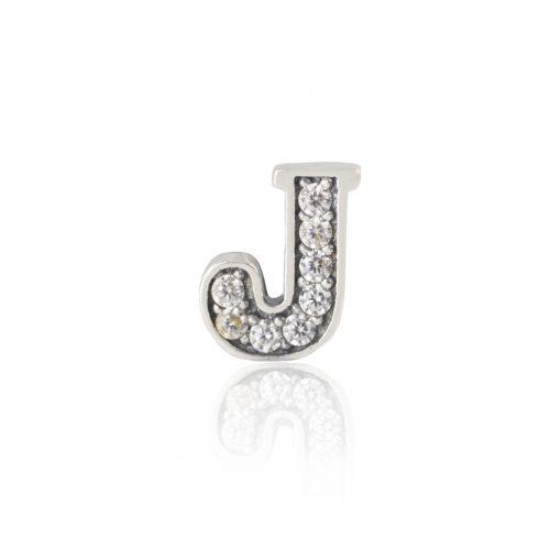 Silver J Charm