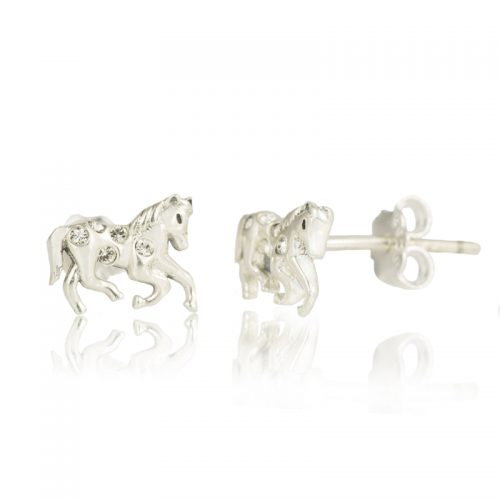 Sterling Silver Horse Earrings with Clear Swarovski ® Crystals