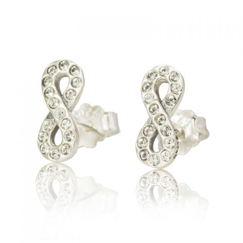 Sterling Silver Infinity Earrings with Clear Swarovski ® Crystals