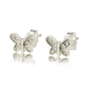 Sterling Silver Butterfly Earrings with Clear Swarovski ® Crystals