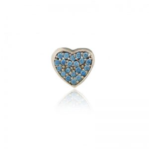 Blue pave crystal heart