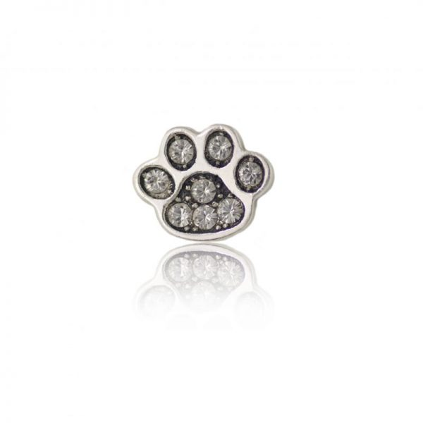 Swarovski crystal dog paw grey