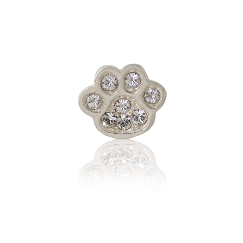 Swarovski crystal paw floating charm