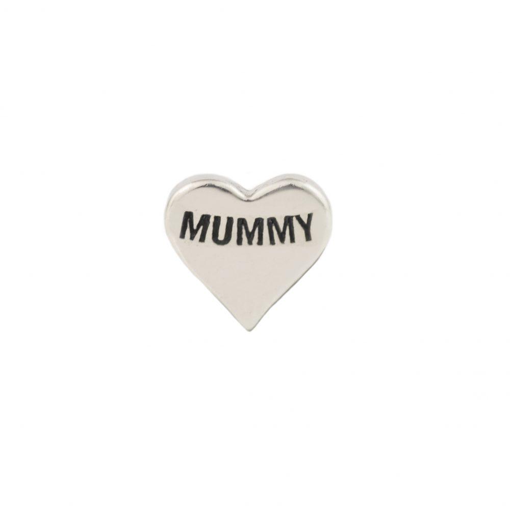 Mummy Silver heart floating Charm