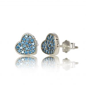 Sterling Silver Heart Earrings with Blue Pave Crystals