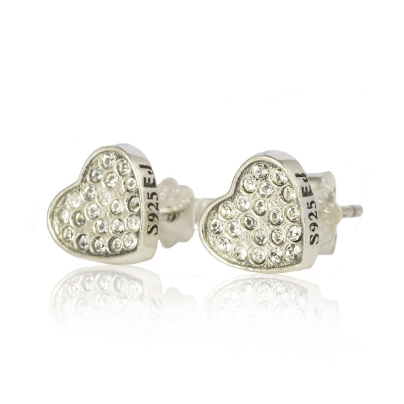 Sterling Silver Heart Earrings with Clear Swarovski ® Crystals