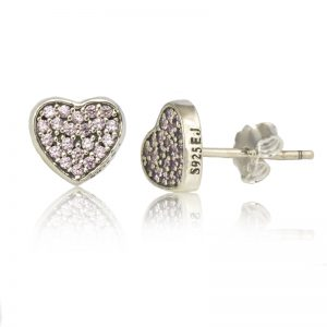 Sterling Silver Heart Earrings with Pink Pave Crystals