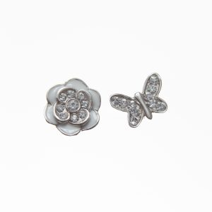 White Enamel Flower and Butterfly Sterling Silver Floating Charm Set