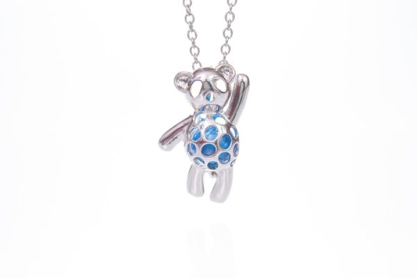 Teddy Bear Glass Ashes Pearl Pendant