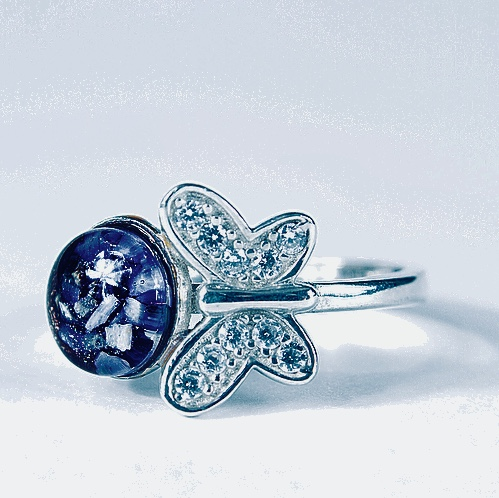 Crystal Butterfly Cremation Ash Ring