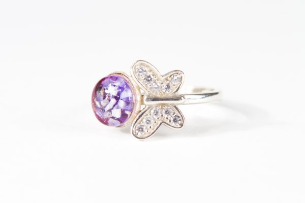 Butterfly Ashes Set in Glass Ring