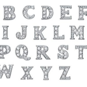 Sterling Silver Crystal Embellished Alphabet Charms